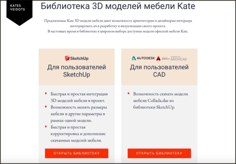 Библиотека 3D моделей мебели Kate